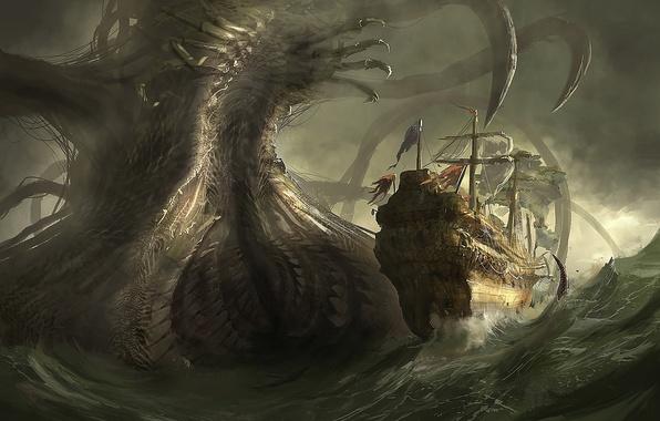 Picture sea, danger, ship, monster, art, giant