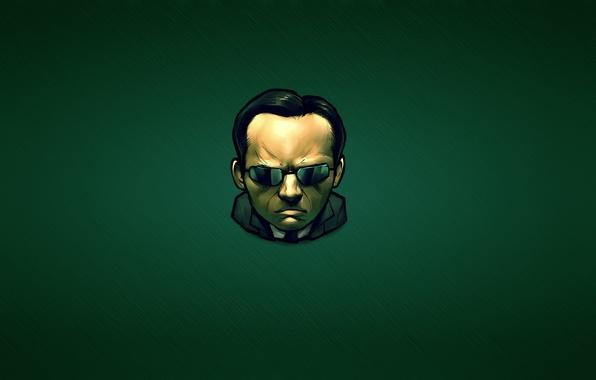 Picture green, dark, minimalism, matrix, Hugo Weaving, Agent Smith, The Matrix