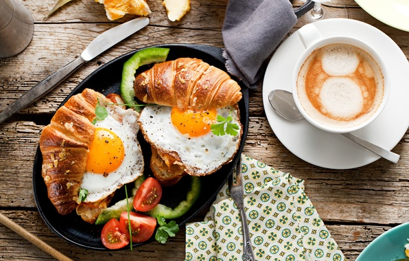 Picture Coffee, Spoon, Tomatoes, Cup, Food, Still life, Scrambled eggs