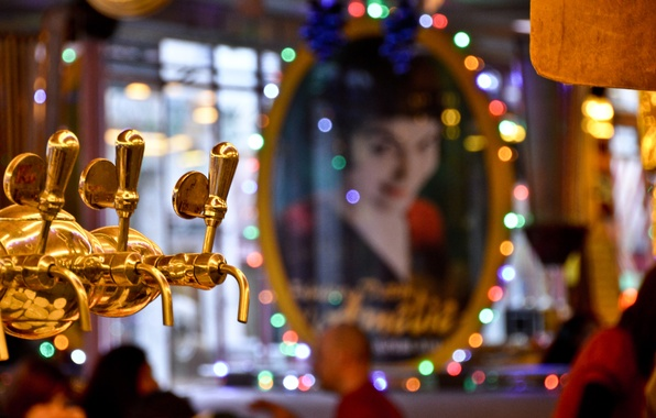 Picture lights, girl, Paris, bokeh, beer, reflection, mirror, Two Mills