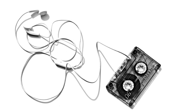 Picture background, cassette, headphones