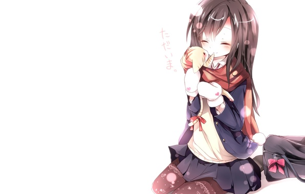 Picture winter, cat, cat, snow, love, joy, happiness, the inscription, anime, girl, characters, schoolgirl, bag, neko, …
