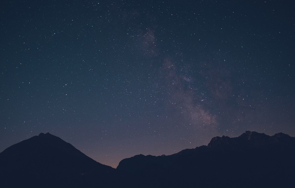 Picture space, stars, mountains, silhouette, The Milky Way