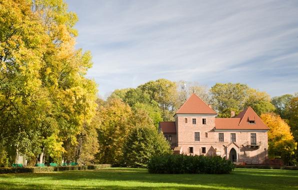Picture autumn, trees, nature, house, Park, castle, Poland, architecture, benches, Poland, Kutno, Kutno