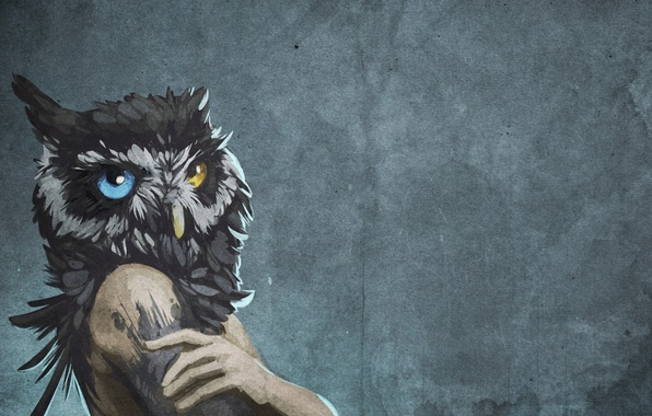 Picture background, wall, owl, bird, figure, people, head, art, different eyes