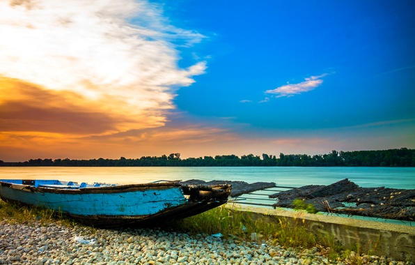 Photo wallpaper stones, Serbia, boat, the sky, shore, river, clouds