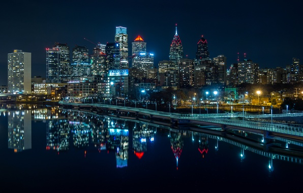 Picture water, night, lights, reflection, river, home, skyscrapers, lights, USA, promenade, Philadelphia