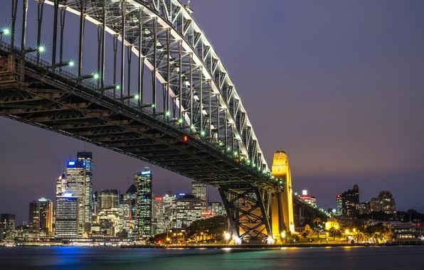 Picture bridge, Australia, Sydney, night city, Australia, Sydney Harbour Bridge