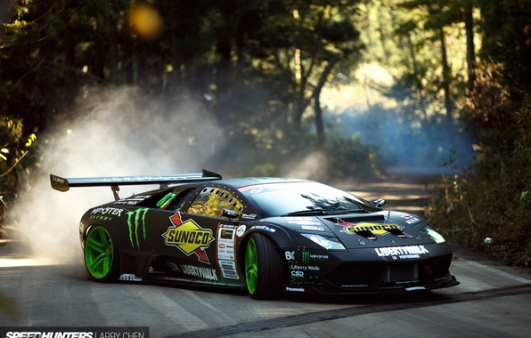 Picture road, smoke, speed, dust, skid, speedhunters, Liberty Walk, Lamborghini Murciélago, Drift Machine