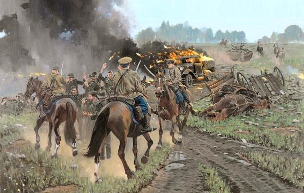 Picture road, machine, fire, smoke, figure, art, soldiers, burning, German, Soviet, cavalry, WWII, prisoners of war, …
