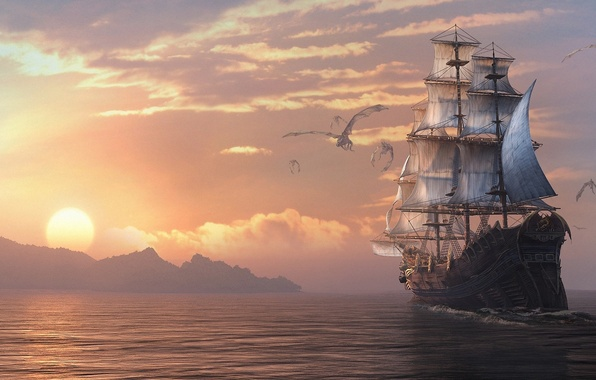 Picture sea, sunset, ship, sailboat, dragons, art, Dragon Eternity, dragons of eternity