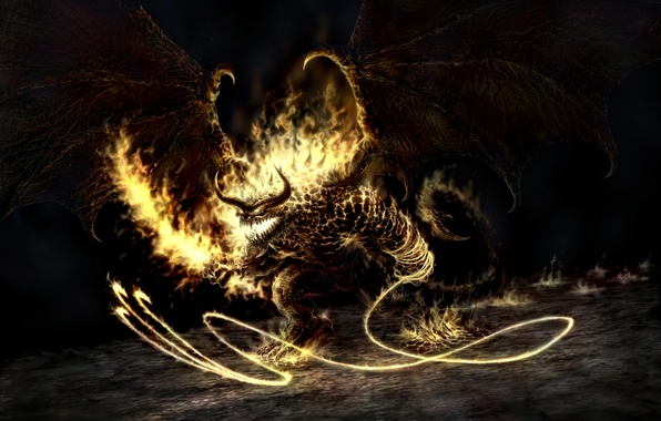 Picture Fire, The Lord of the rings, The demon, Balrog, Balrog