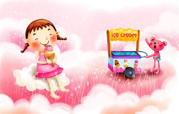 Picture clouds, joy, fantasy, figure, ice cream, girl, braids, truck, animal