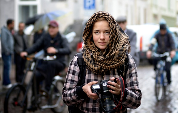 Picture girl, the city, rain, street, the camera, photographer, Stranger