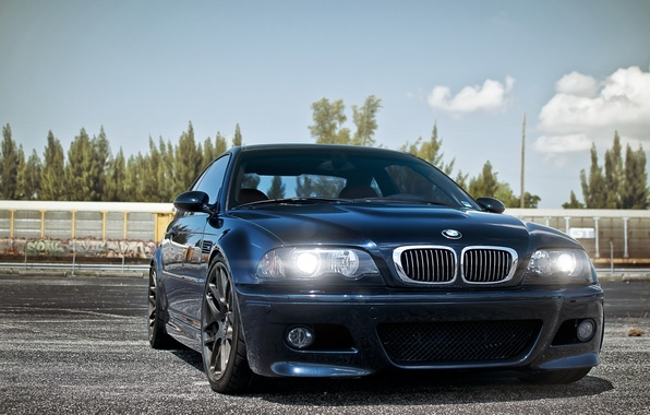 Picture the sky, blue, lights, tuning, BMW, BMW, tuning, the front, E46
