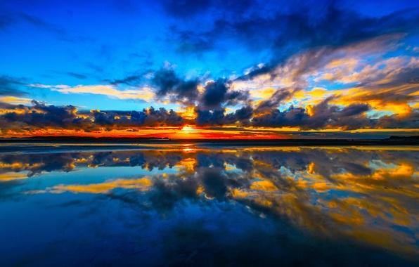 Picture sea, clouds, sunset, reflection, New Zealand, New Zealand, Cook Strait, Manakau, Kuku Beach, Cook Strait, …