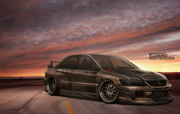 Photo wallpaper wallpaper, metal, lancer, evo, sundown