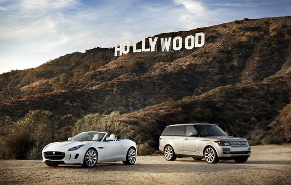 Picture Jaguar, white, Land Rover, Range Rover, and, F-Type