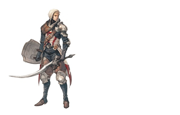 Picture sword, hood, white background, shit, male, sword, knight, art