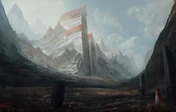 Picture girl, landscape, mountains, rocks, building, home, art, columns, red, runes, giant, blinck