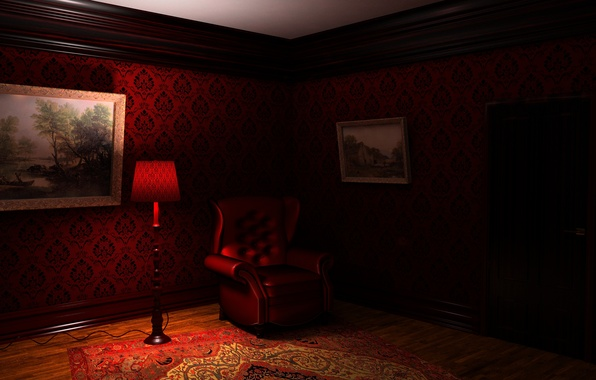 Picture light, night, room, carpet, lamp, chair