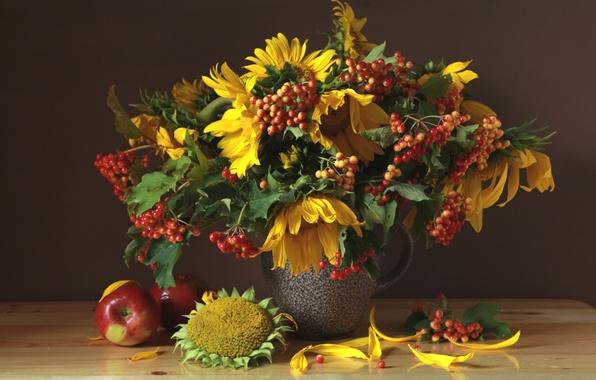 Picture Apple, sunflower, bouquet, August, still life, Kalina