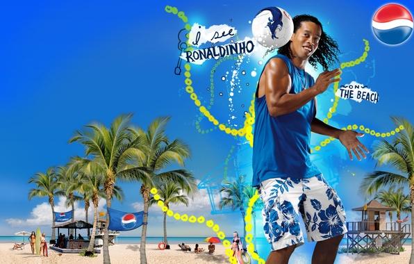 Picture Beach, The ball, Summer, Football, Player, Legend, Ronaldinho, Pepsi, Best