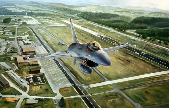 Picture aviation, the plane, figure, fighter, the airfield, F-16, F-16