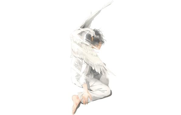 Picture bird, art, Swan, guy, sitting