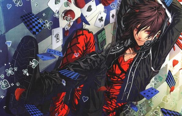 Picture card, red, rose, petals, headphones, black, guy, Amnesia, Shin