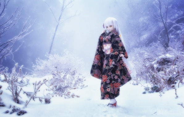 Picture winter, snow, nature, toy, doll, blonde
