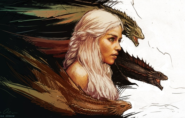 Picture art, Game of thrones, Daenerys Targaryen, Game of thrones, mother of dragons