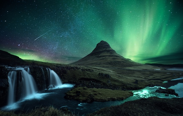 Picture stars, snow, night, rocks, mountain, waterfall, meteor, Northern lights, the volcano, comet, Iceland, Kirkjufell
