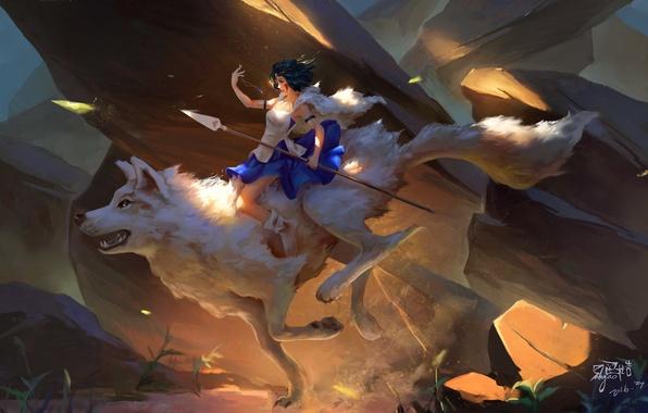 Picture white, stones, heat, rocks, wolf, dust, dress, rider, pendant, chain, spear, princess, dota 2, mononoke, …