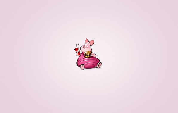 Picture animal, minimalism, pig, Winnie The Pooh, drink, hamburger, lemonade, Piglet, chubby, Winnie-the-Pooh