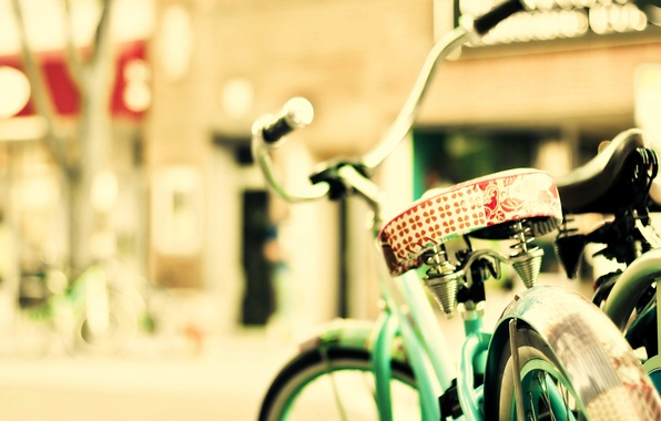 Picture the sun, bike, the city, street
