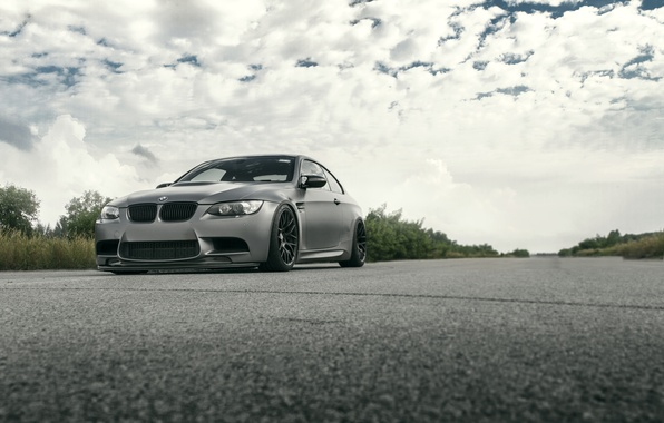 Picture road, the sky, clouds, grey, bmw, BMW, the bushes, grey, e92