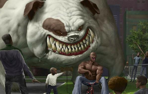Picture bike, humor, Bulldog