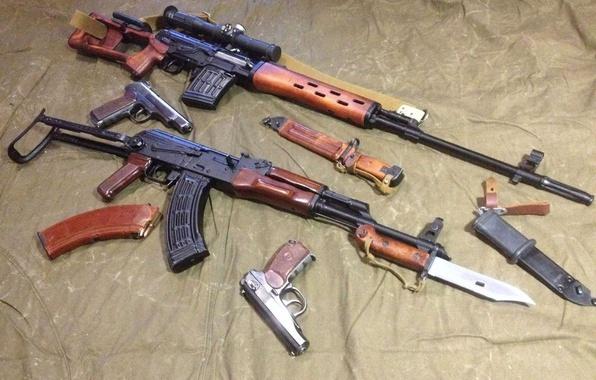 Photo Wallpaper Gun APS AKMS PM Kalashnikov Modernized Bayonet Soviet