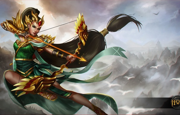 Picture girl, bow, Archer, art, hon, arrows, Heroes of Newerth, Artillery, Srikandi Artillery