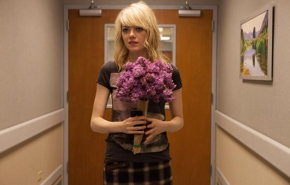 Picture flowers, bouquet, corridor, blonde, Emma Stone, Emma Stone, Birdman, Birdman