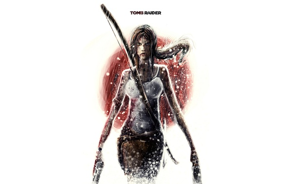 Picture girl, weapons, blood, minimalism, white background, Tomb Raider, Lara Croft