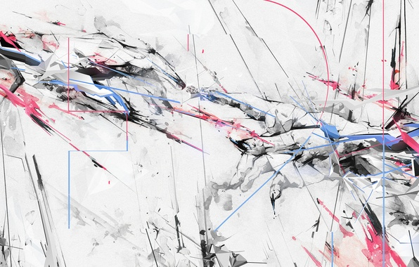 Picture white, line, squirt, abstraction, pink, blue, paint, black, color