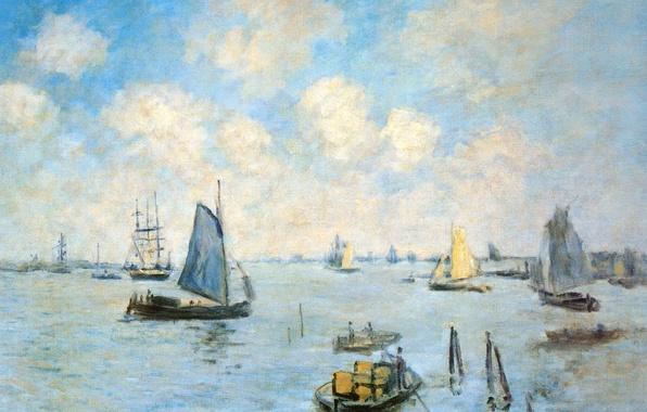 Picture boat, ship, picture, sail, seascape, Claude Monet, The sea in Amsterdam