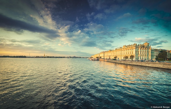 Picture river, The Hermitage, Russia, promenade, Peter, Saint Petersburg, Niva, St. Petersburg, Aleksandr Bergan