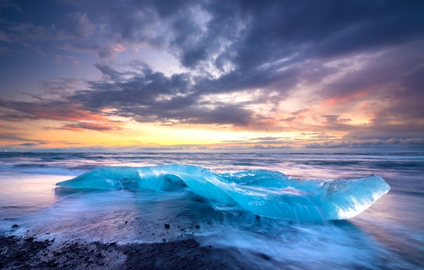 Picture ice, sea, the sky, clouds, shore, surf, Iceland