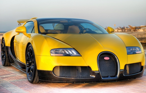 Picture the sky, yellow, tuning, veyron, supercar, bugatti, Bugatti, tuning, the front, roadster, Veyron, grand sport, …