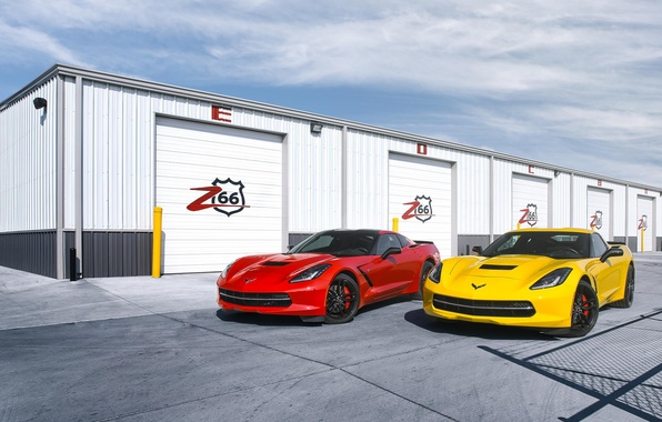 Picture red, yellow, Corvette, Chevrolet, red, Chevrolet, yellow, front, boxes, Corvette, Stingray, Stingray