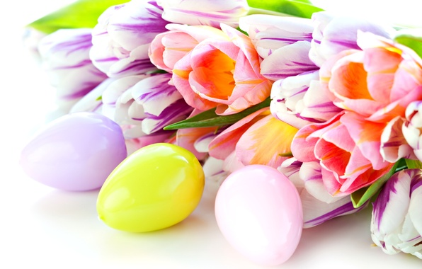 Picture eggs, spring, blur, Easter, tulips