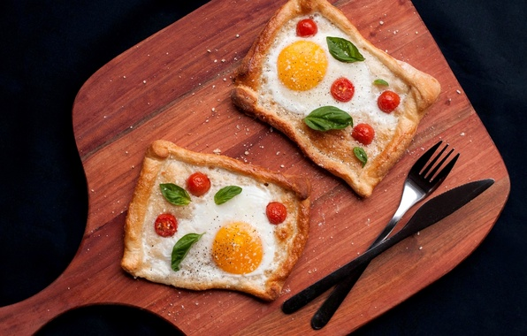 Picture knife, plug, scrambled eggs, tomatoes, spices, the dough, design, Basil
